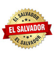 el salvador round golden badge with red ribbon vector image vector image