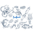 exotic seafood monochrome sketch set vector image vector image