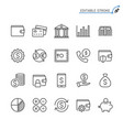 financial management line icons editable stroke vector image