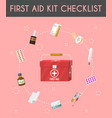 first aid kit cartoon checklist vector image