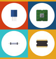 flat icon electronics set of unit microprocessor vector image vector image