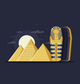 flat night ancient egypt with pyramids moon and vector image