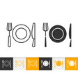 fork knife plate simple black line icon vector image