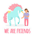 friendship girl and unicorn vector image vector image