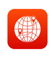 globe icon digital red vector image vector image