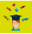 graduate student with books isolated icon design vector image vector image