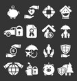 insurance icons set grey vector image vector image