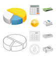 isolated object of bank and money symbol vector image vector image