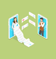 isometric flat concept online diagnosis vector image vector image