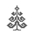 knitted icons of christmas trees for drawing vector image