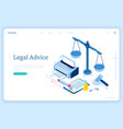 legal advice isometric landing lawyer assistance