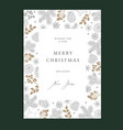 merry christmas happy new year floral greeting vector image