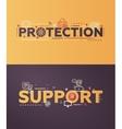 Modern flat design Protection Support lettering vector image