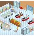 Modern Supermarket Interior Isometric Composition vector image vector image