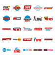 news live breaking label icons set flat style vector image