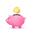 pink piggy bank saving money concept vector image