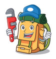 plumber backpack mascot cartoon style vector image