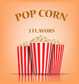 popcorn flavors concept background realistic vector image vector image