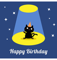 Projector light circus show Cute cartoon cat vector image