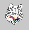 Rainbow Wolf vector image vector image