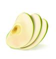 realistic green apple fruit slice 3d vector image vector image