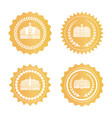 royal golden stamps with crowns and laurel wreath vector image