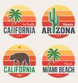 set california arizona miami t-shirt prints vector image vector image