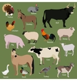 Set of farm animals icons Flat style design