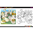 sheep characters coloring book vector image
