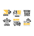 shipping and delivery service logos set vector image vector image
