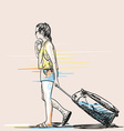sketch woman with suitcase hand drawn vector image