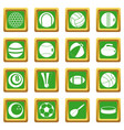 sport balls icons set green vector image vector image