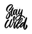 stay wild lettering phrase on white background vector image vector image