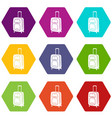 suitcase on wheels icons set 9 vector image