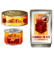 Three design of canned meats vector image vector image