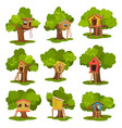tree houses set wooden huts on green trees for vector image vector image