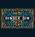 vintage gin label layered vector image vector image