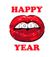 woman red lips happy new year 2019 red lips with vector image vector image