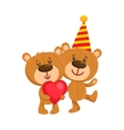 Two cute teddy bear characters birthday party vector image
