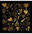 Hand drawn set gold tribal hearts vector image