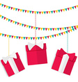 Festive garland with presents in red boxes with vector image