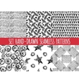 Set of four seamless abstract hand-drawn pattern vector image