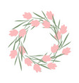 a wreath pink flowers summer wreath frame vector image