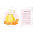 almond nuts hair oil in glass postcard vector image