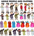 Asian people and clothes vector image