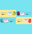 back to school web posters set with backpacks vector image