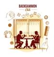Backgammon Club Vintage Style Design vector image vector image