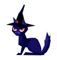 black cat wearing a witch hat halloween vector image
