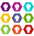 cactus with flower icon set color hexahedron vector image vector image
