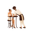 cafe or coffee shop visitor woman and waiter flat vector image vector image